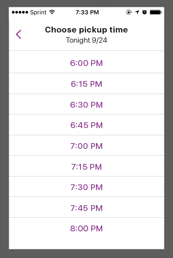 A screenshot showing pickup times for the Shmeal, ranging from 6:00PM to 8:00PM