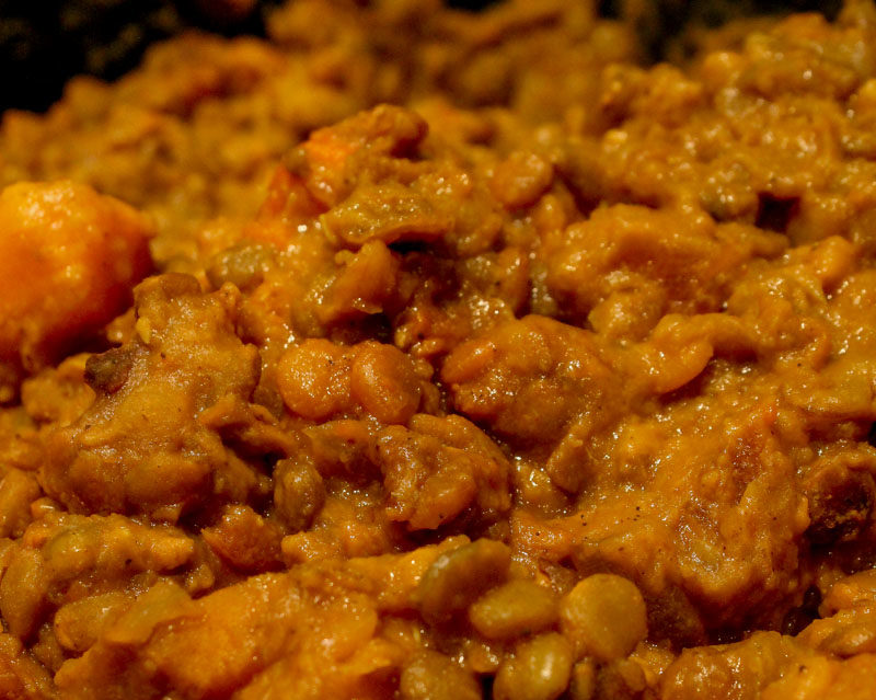 Slow-cooked lentils