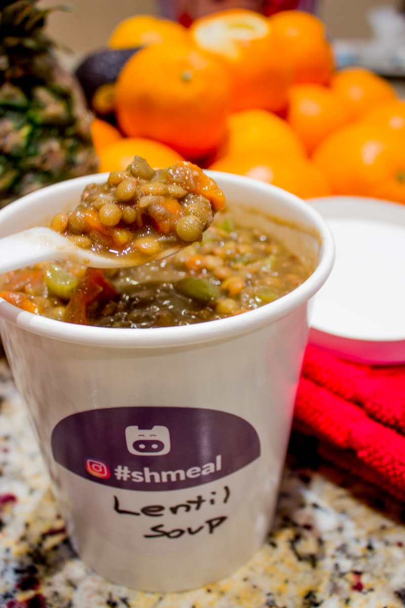 Some lentil soup in a Shmeal soup container.