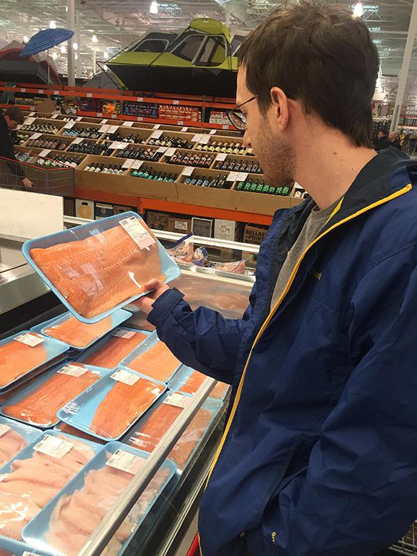 Justin admiring salmon