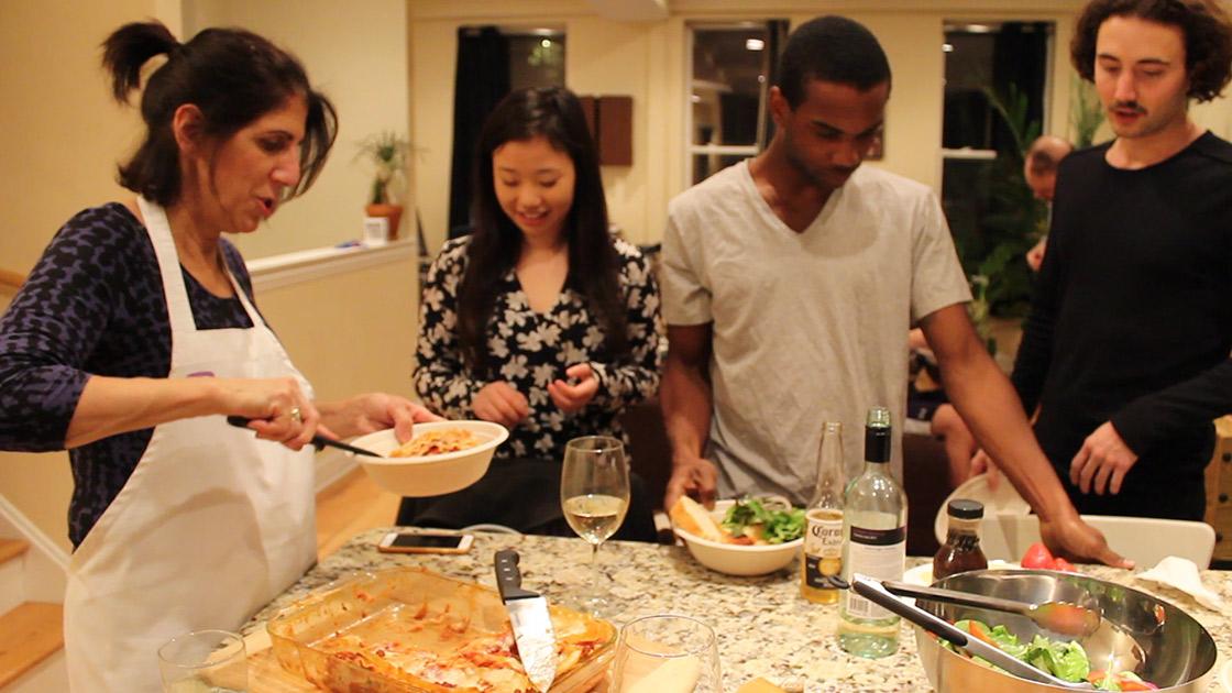 A Shmeal cook, Rosann, with 3 Shmeal eaters